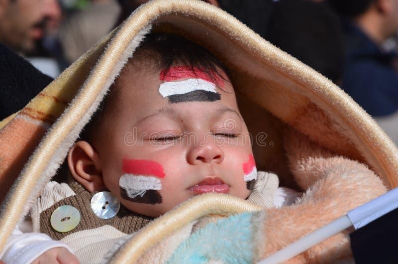 Kinderen van de demonstratiesystemen in Alexandrië stock afbeelding