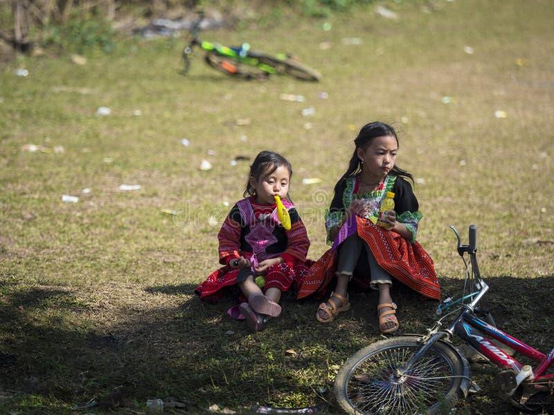 Kinderen van de etnische Groep Hmong van Vietnam stock afbeeldingen