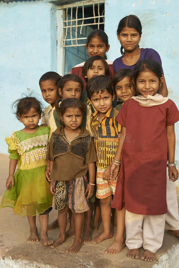 Kinderen van Mandu, India royalty-vrije stock foto