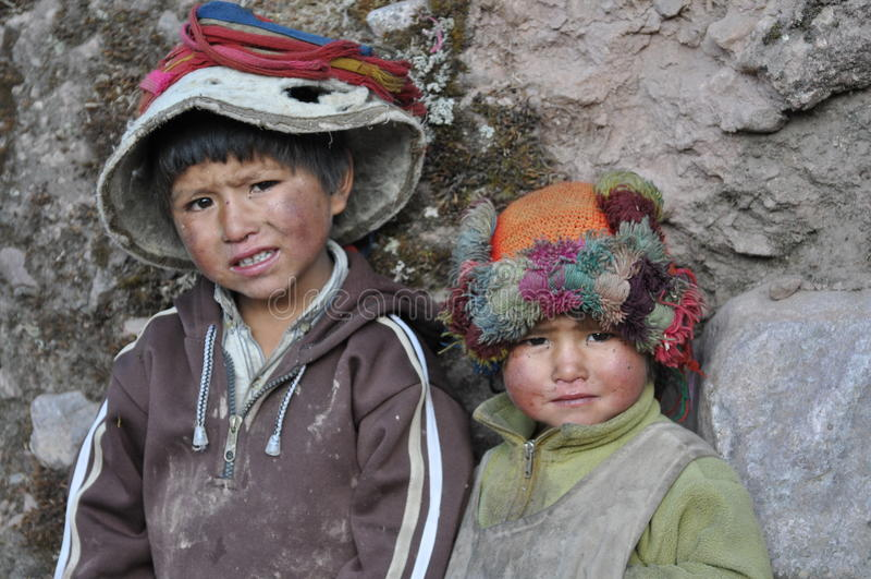 Kinderen van Peru stock fotografie