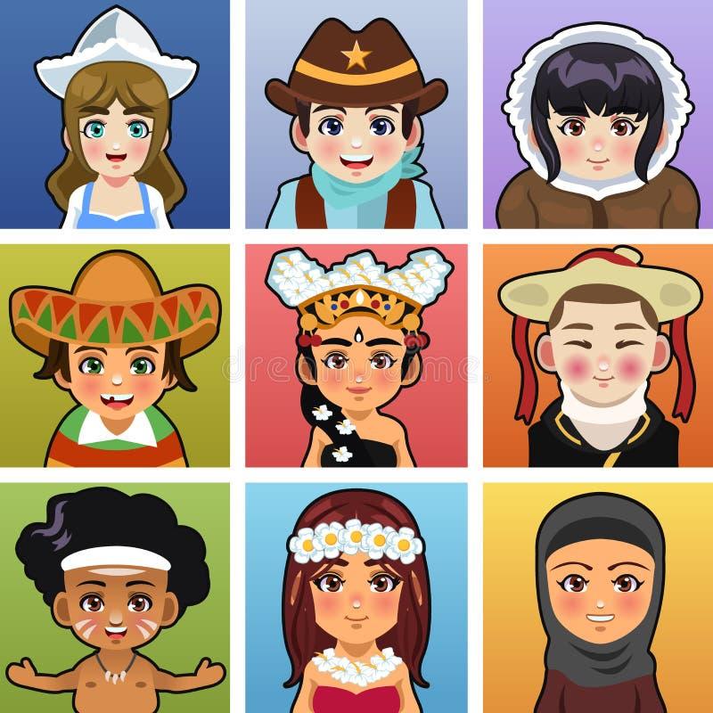 Kinderen van verschillende delen van de wereld vector illustratie