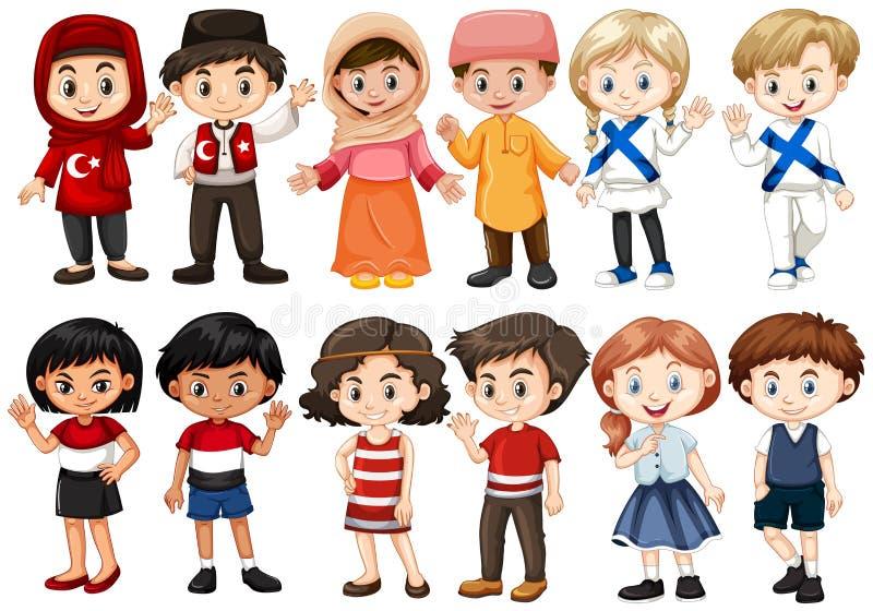 Kinderen van verschillende landen stock illustratie