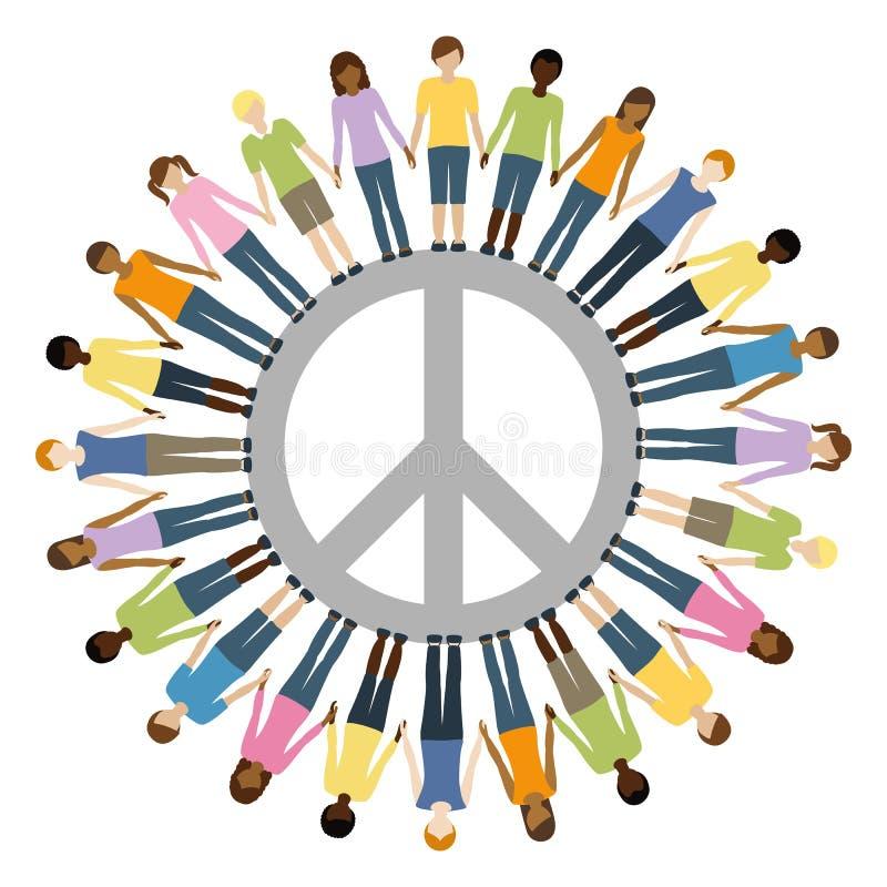 Kinderen van verschillende oorsprong met de vrijheidsconcept van het vredessymbool vector illustratie