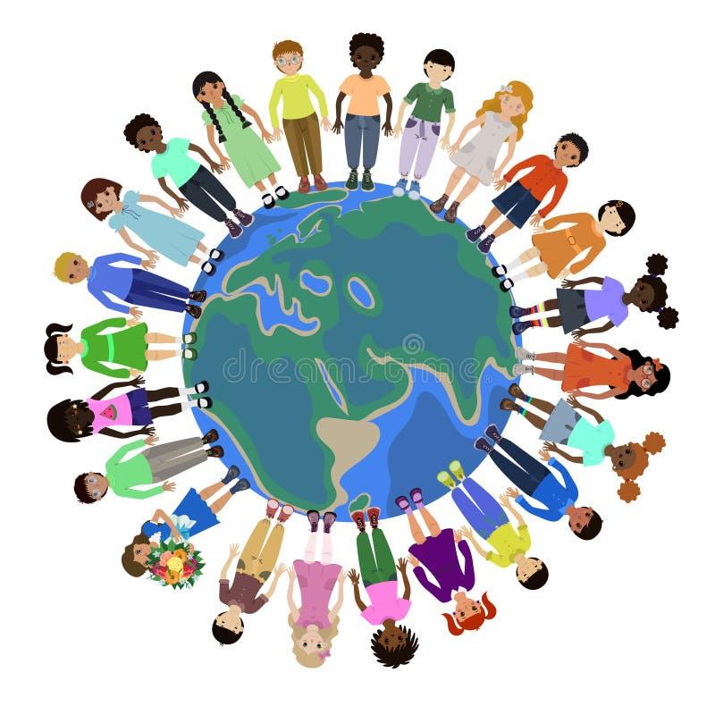 Kinderen van verschillende rassen die voor handen rond de wereld houden vector illustratie