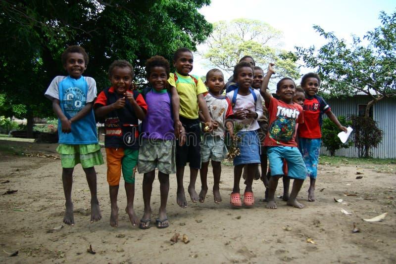 Kinderen in Vanuatu stock foto's