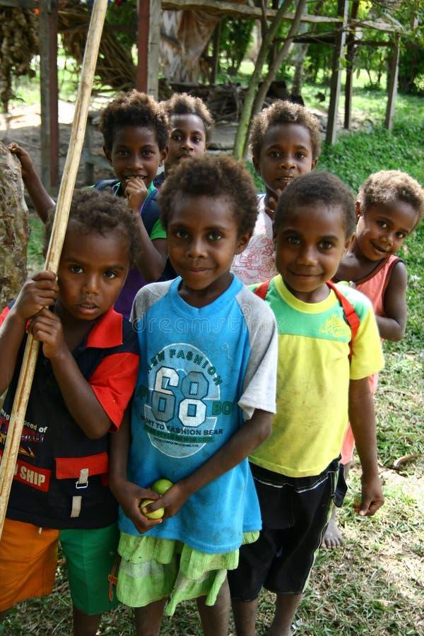 Kinderen in Vanuatu stock afbeeldingen