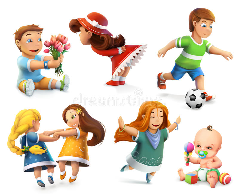 Kinderen vectorpictogrammen royalty-vrije illustratie