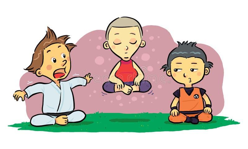 Kinderenmeditatie stock illustratie