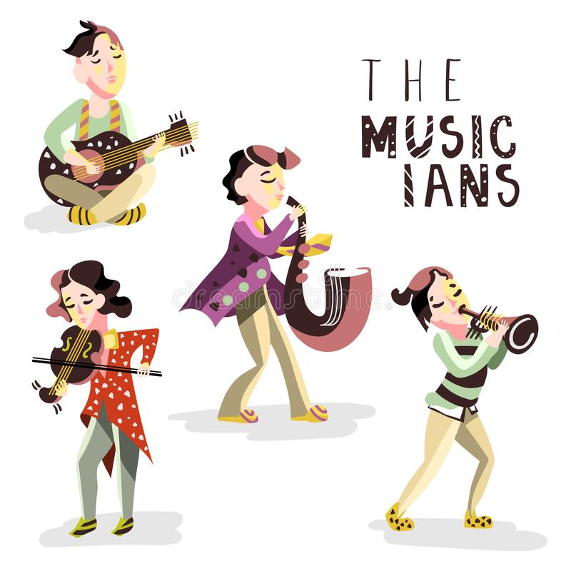 Kinderenmusici Jonge geitjes met muzikale instrumenten - gitaar, viool, saxofoon, trompet stock illustratie