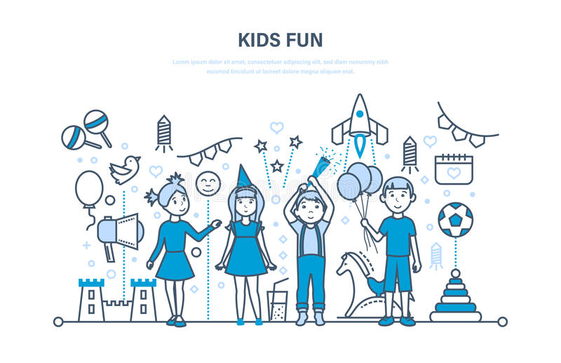 Kinderenpartij binnen De gelukkige jonge geitjes, spel, hebben pret Plechtige viering royalty-vrije illustratie