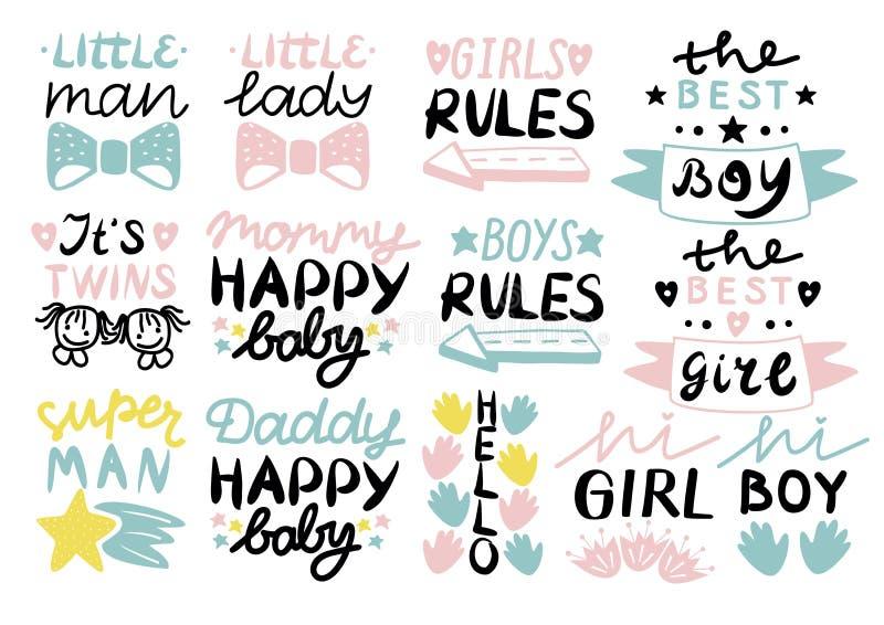 13 kinderens embleem met handschrift Weinig mens, dame, Meisjes, jongensregels, Mama, Papa gelukkige baby, Hello, het s-tweelinge stock illustratie