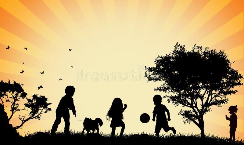 Kinderensilhouetten royalty-vrije illustratie