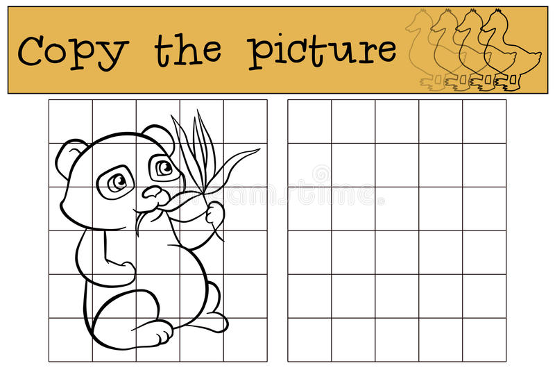 Kinderenspelen: Kopieer het beeld Weinig leuke panda stock illustratie