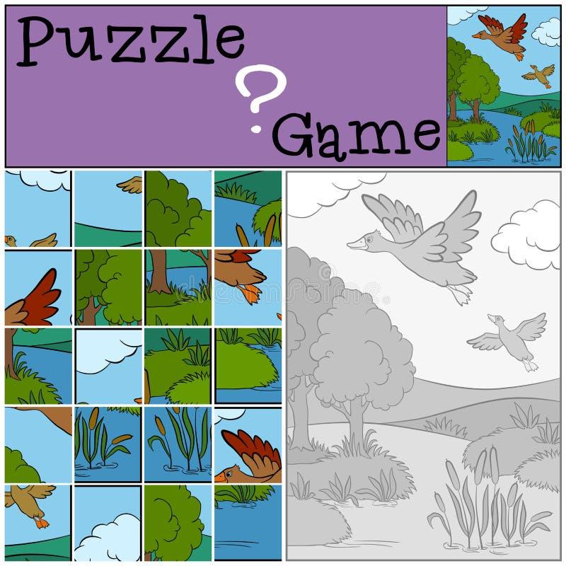 Kinderenspelen: Raadsel Twee kleine leuke eenden royalty-vrije illustratie