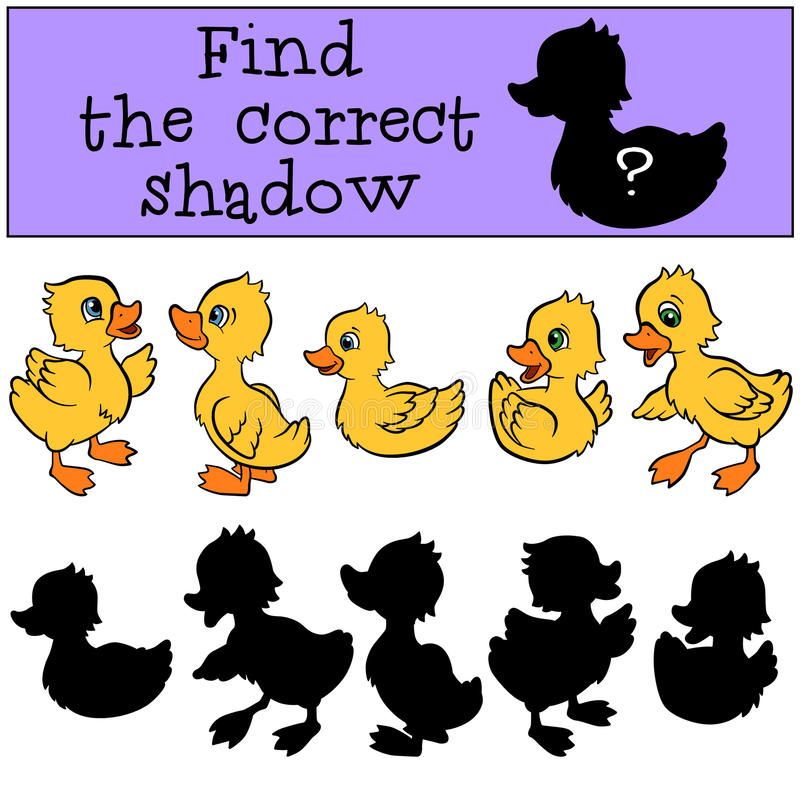 Kinderenspelen: Vind de correcte schaduw Kleine leuke eendjes stock illustratie
