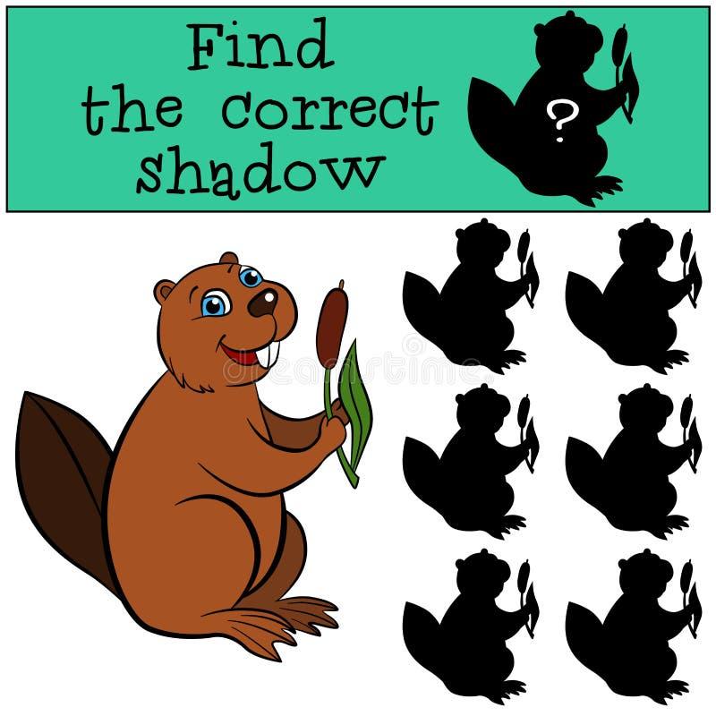 Kinderenspelen: Vind de correcte schaduw Leuk weinig bever vector illustratie