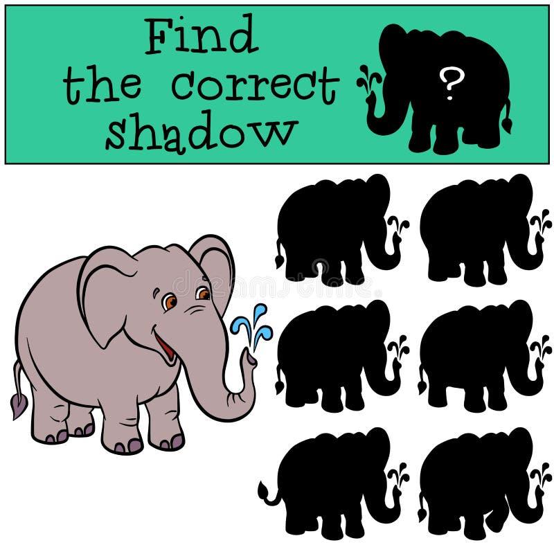 Kinderenspelen: Vind de correcte schaduw Leuke elephaht royalty-vrije illustratie