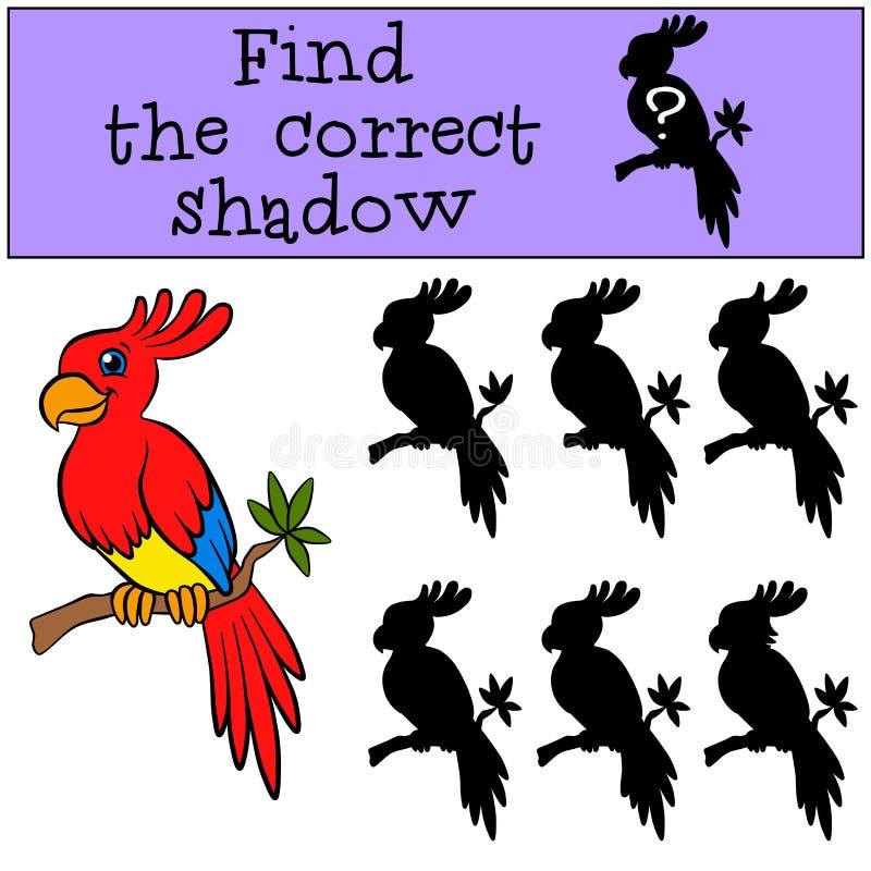 Kinderenspelen: Vind de correcte schaduw Weinig leuke papegaai stock illustratie