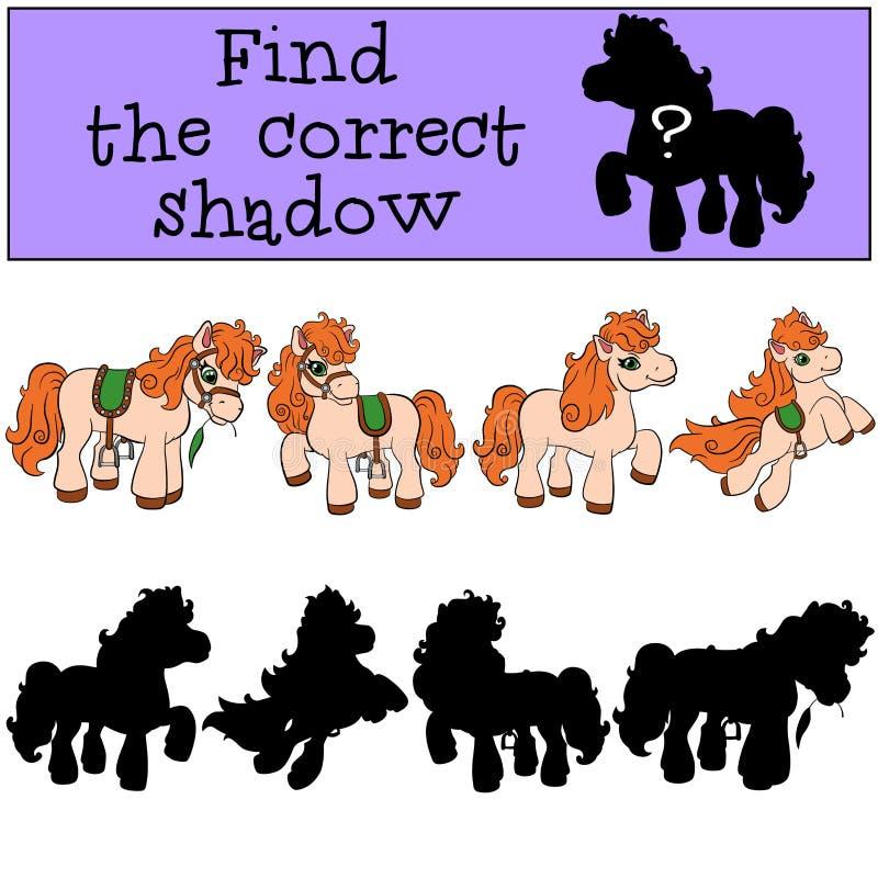 Kinderenspelen: Vind de correcte schaduw Weinig leuke poney stock illustratie