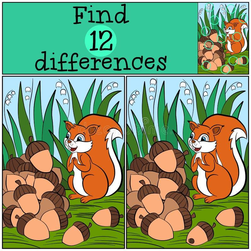 Kinderenspelen: Vind verschillen Weinig Leuke Eekhoorn royalty-vrije illustratie