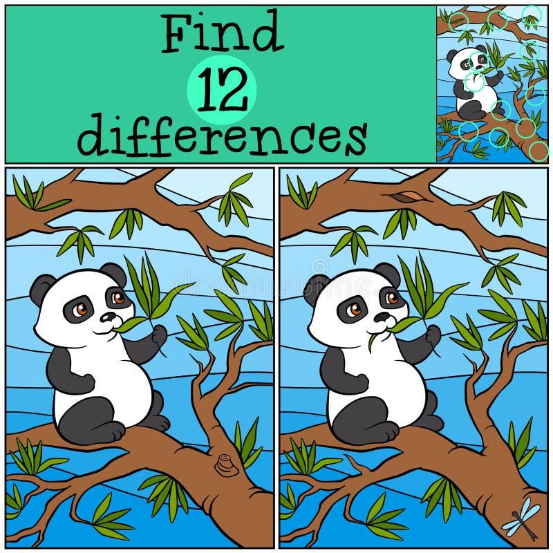 Kinderenspelen: Vind verschillen Weinig leuke panda royalty-vrije illustratie