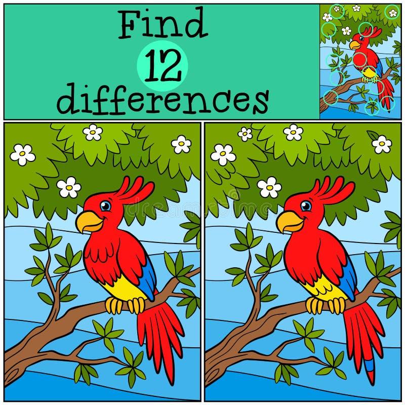 Kinderenspelen: Vind verschillen Weinig leuke papegaai stock illustratie
