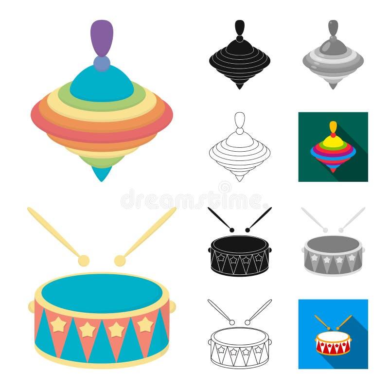 Kinderenstuk speelgoed beeldverhaal, zwarte, vlak, zwart-wit, overzichtspictogrammen in vastgestelde inzameling voor ontwerp Spel stock illustratie