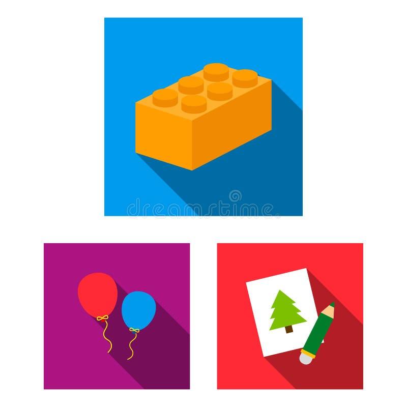 Kinderenstuk speelgoed vlakke pictogrammen in vastgestelde inzameling voor ontwerp Spel en illustratie van het de voorraadweb van vector illustratie
