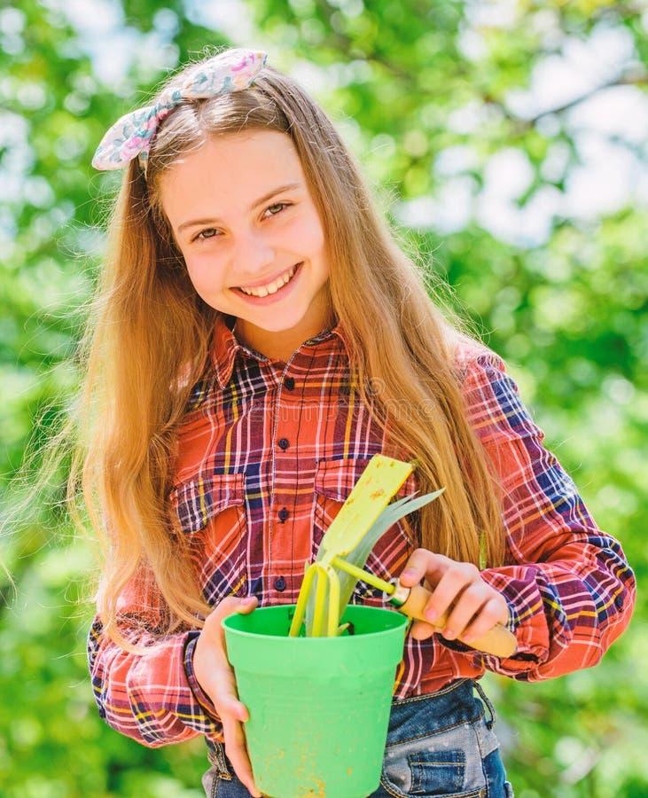 Kinderentz?ckendes Kindergriffblumentopf- und -hackengartenarbeitwerkzeug Die Gartenarbeit ist ruhige nachdenkliche Besetzung gar stockfoto