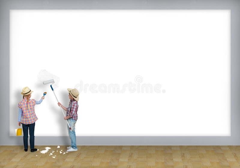 Kinderfarbenrollenwand lizenzfreies stockbild