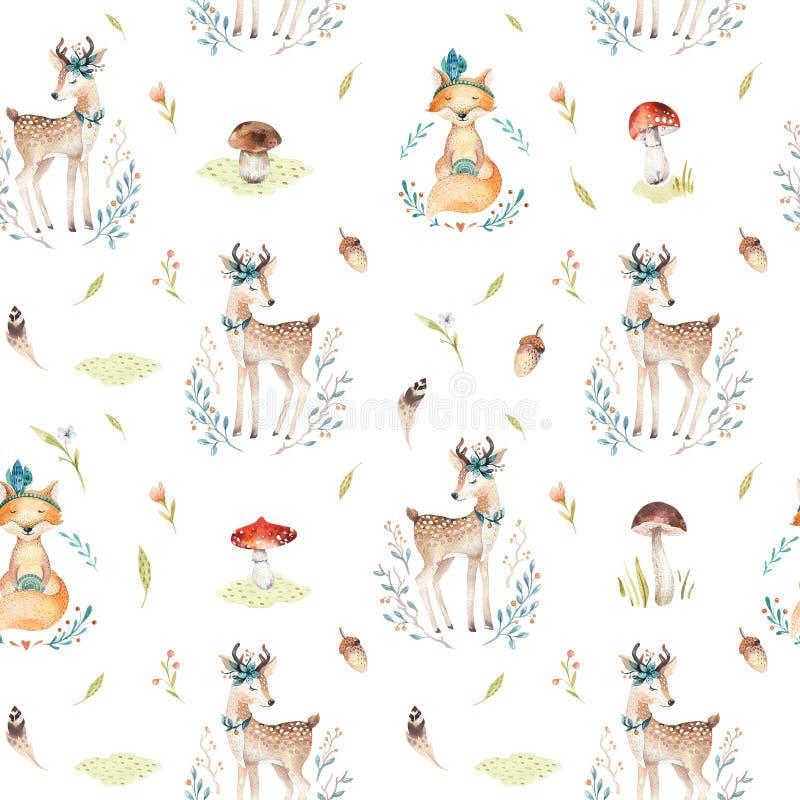 kindergart的逗人喜爱的小狐狸和鹿动物无缝的样式 向量例证