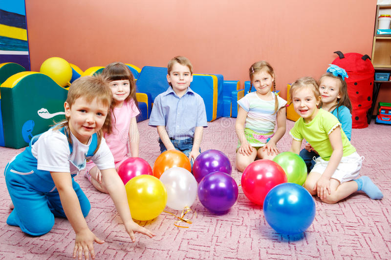 Kindergarten. A group of preschool kids in kindergarten stock photography
