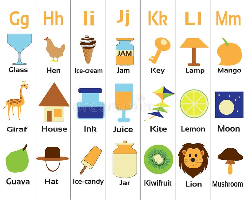 Kindergarten-alphabets-ghijklm for small children. Alphabets taught to Kindergarten children with vegetables, fruits, animals and objects stock illustration