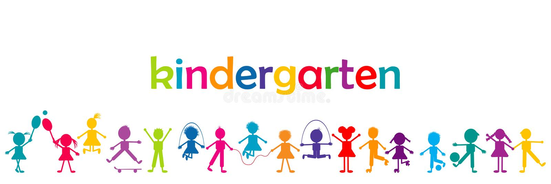 Kindergarten banner with colored kids vector illustration