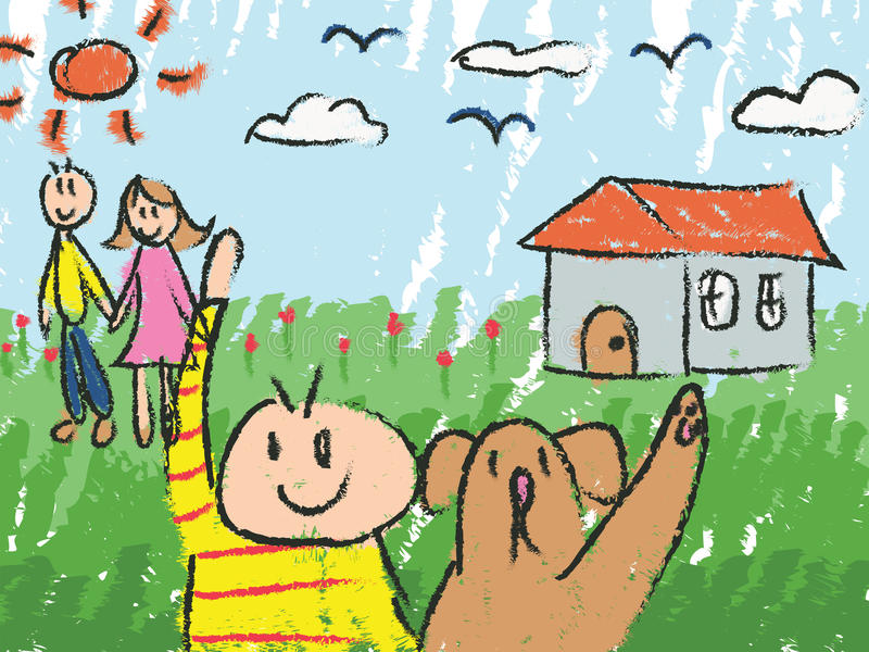 download kindergarten children color doodle drawing sketch stock vector illustration 61756774 - Drawing Pictures For Kindergarten