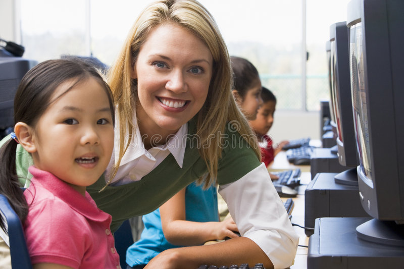 Download Kindergarten Children Learn To Use Computers Stock Image - Image: 6081699