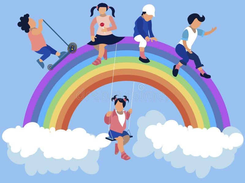 Kindergarten, children are sitting on a rainbow. In minimalist style Cartoon flat vector vector illustration