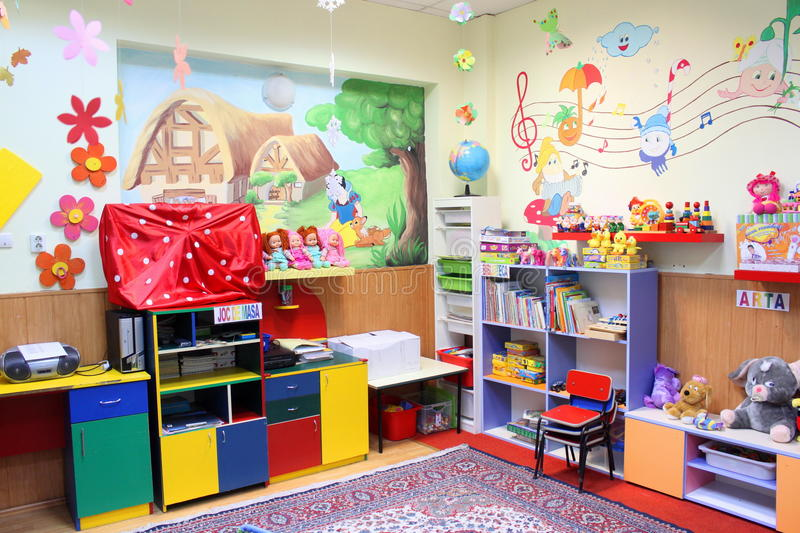 Preschool classroom. Kindergarten preschool classroom neat without kids decorated stock photography