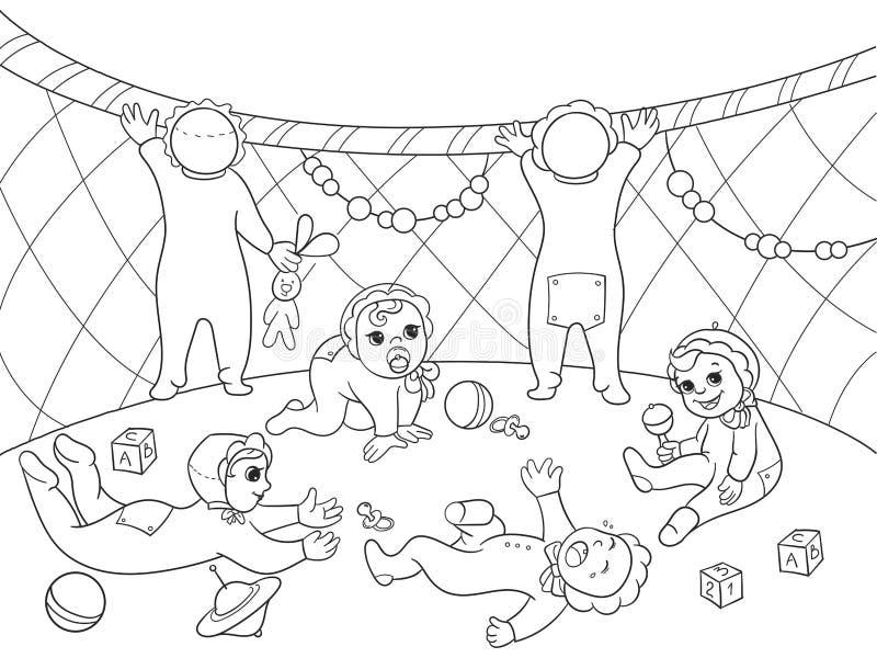 Kindergarten coloring book for children cartoon vector illustration. Zentangle style. Black and white royalty free illustration