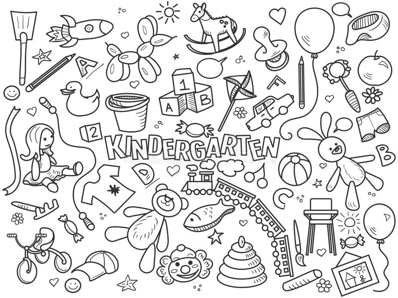 Kindergarten colorless set vector. Kindergarten design colorless set vector illustration. Coloring book. Black and white line art stock illustration