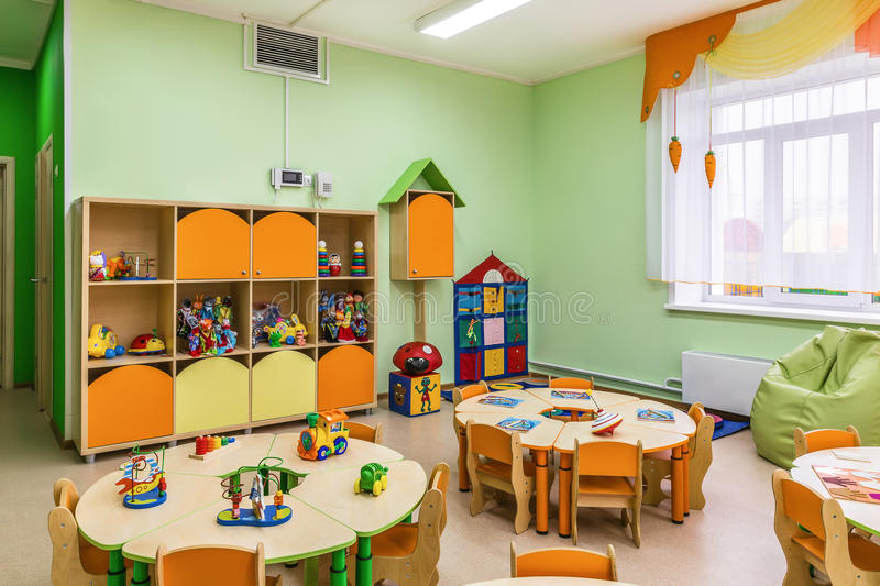 Modern Classroom Games ~ Kindergarten game room stock photo image of