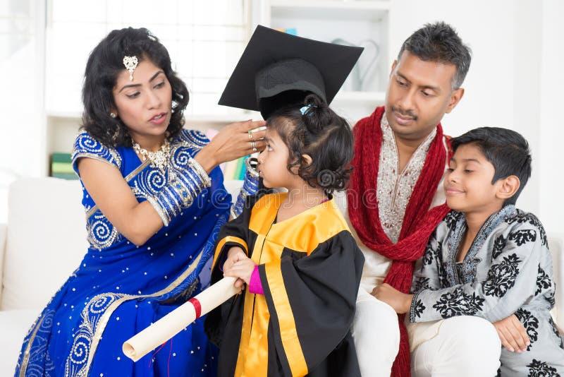 Kindergarten graduation with family royalty free stock photography