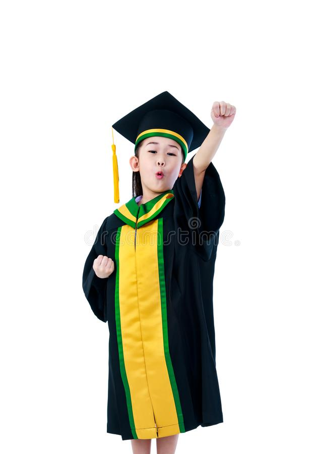 Asian Child In Graduation Gown With Cap. Isolated On White Backg ...