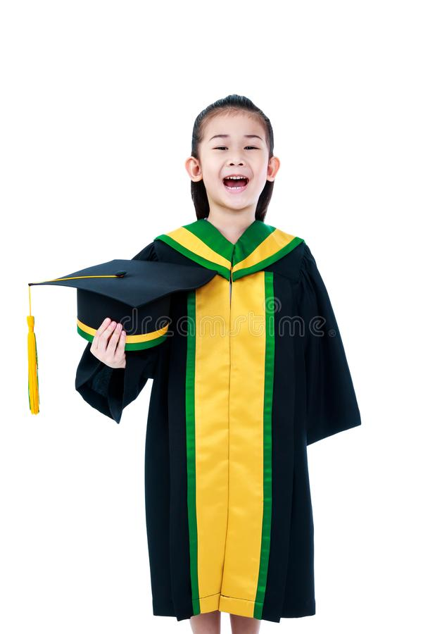 Asian Child In Graduation Gown Smiling And Holding Cap. Stock Image ...