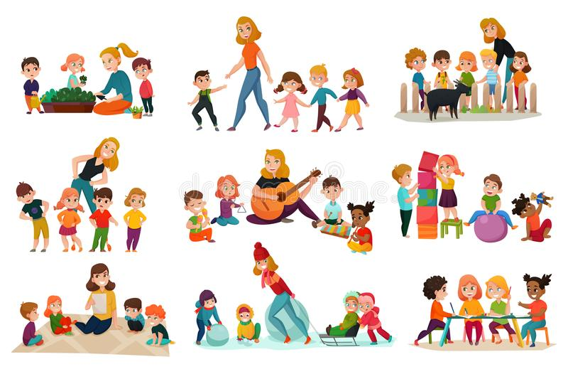 Kindergarten Icons Set royalty free illustration