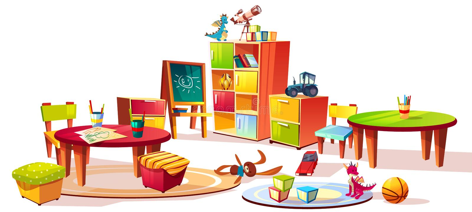 Kindergarten interior furniture vector illustration. Of preschool kid room drawers for toys, table with pencils for drawing and soft chairs for children game stock illustration