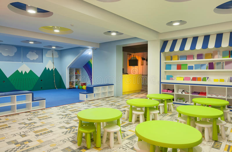 Modern Kindergarten Classroom ~ Kindergarten stock image of indoor furniture