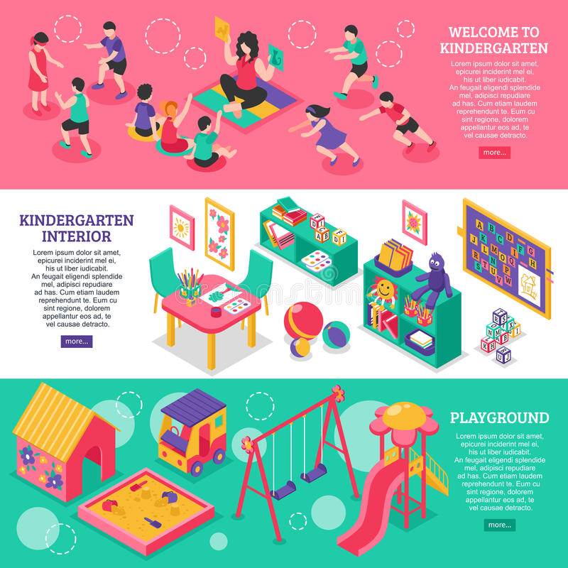 kindergarten Isometric Banners vector illustration