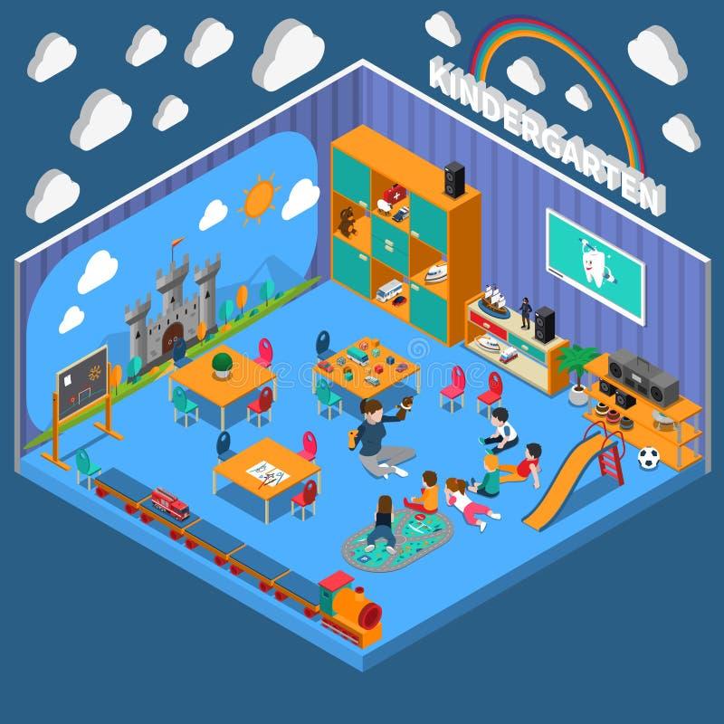 Kindergarten Isometric Composition vector illustration