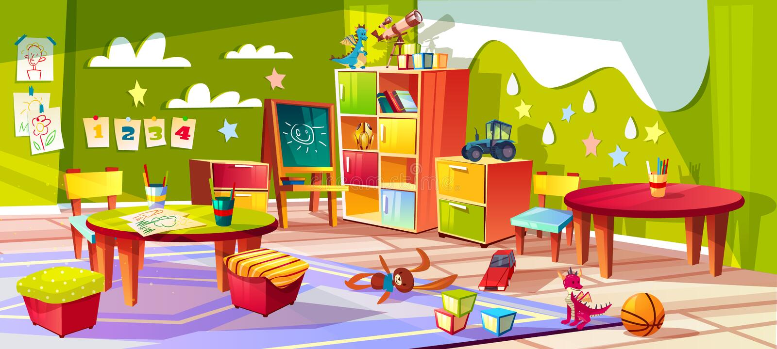 Kindergarten room interior vector illustration. Kindergarten or kid room interior vector illustration. Empty cartoon background with child toys, tables or soft royalty free illustration